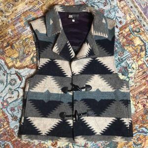 JK Collections   Vintage Wool Blend Aztec Vest